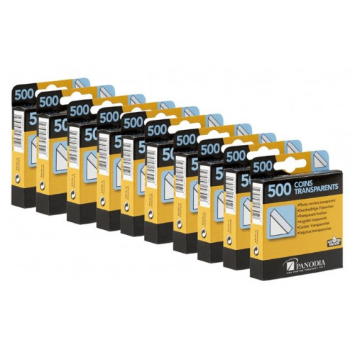 LOT DE 10 BOITES DE 500 COINS ADHESIFS TRANSPARENTS POUR PHOTO PANODIA