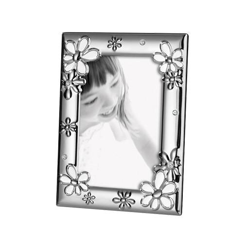 Cadre photo Mascagni métal argenté et fleurs blanches