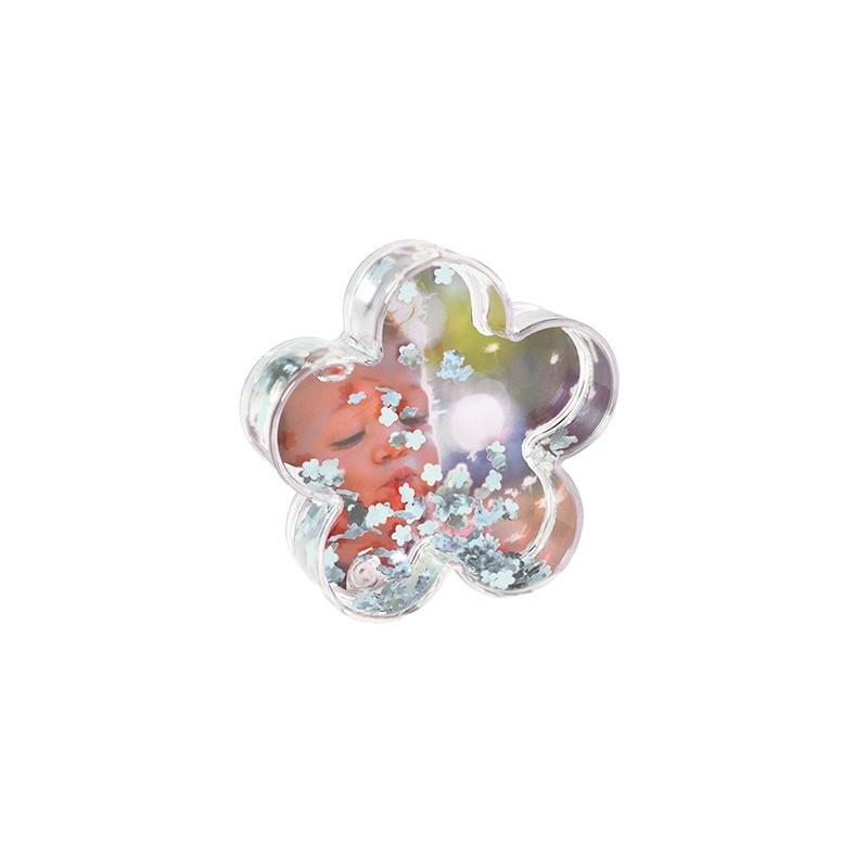 Boule photo en forme de fleur - Fleurs argentées