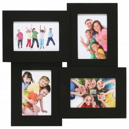Cadre pêle-mêle carré pour 4 photos 10x15 - Noir