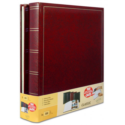 LOT-2-ALBUMS-PHOTO-TRADITIONNEL-JUMBO-BORDEAUX