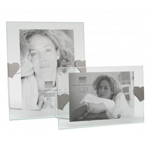 Cadre photo entre deux verres avec clips argentés - Coeur