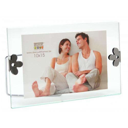 Cadre photo entre deux verres avec clips argentés - Fleur