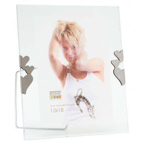Cadre photo entre deux verres avec clips argentés - Multi Coeurs