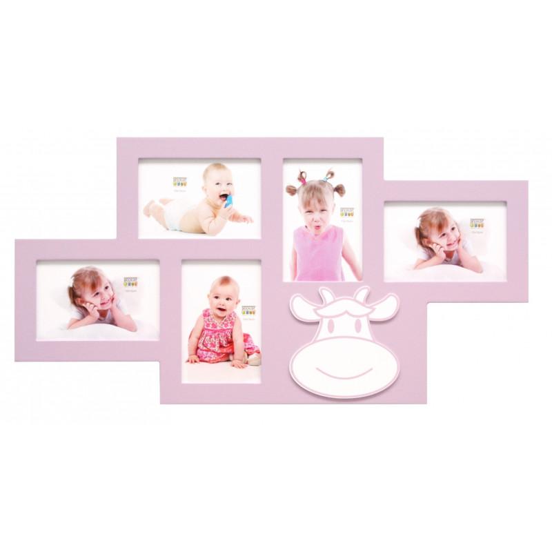 CADRE-MULTIVUES-ENFANT-S66RK4 P5-5-PHOTOS-10X15-ROSE