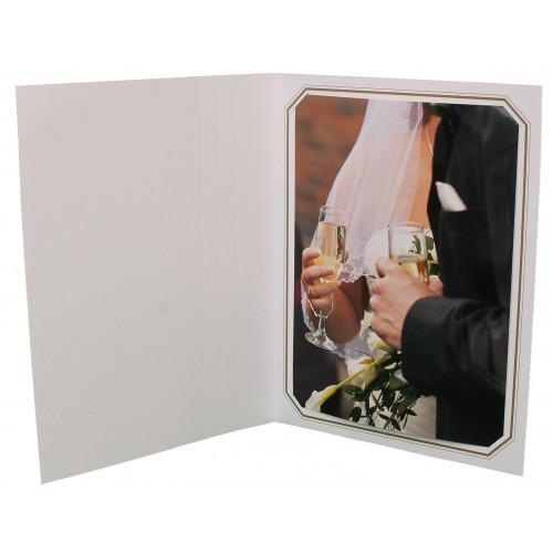 Cartonnage photo octo blanc - Liseré simili doré