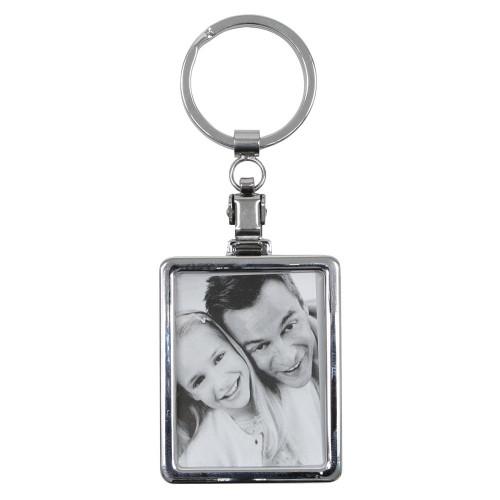 Porte clé photo en métal - rectangle - Deknudt