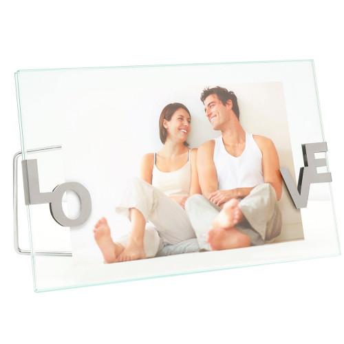 Cadre photo LOVE entre deux verres avec clips argentés