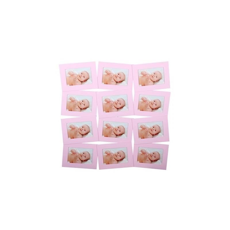 Cadre pêle-mêle rectangle pour 12 photos 10x15 - Rose
