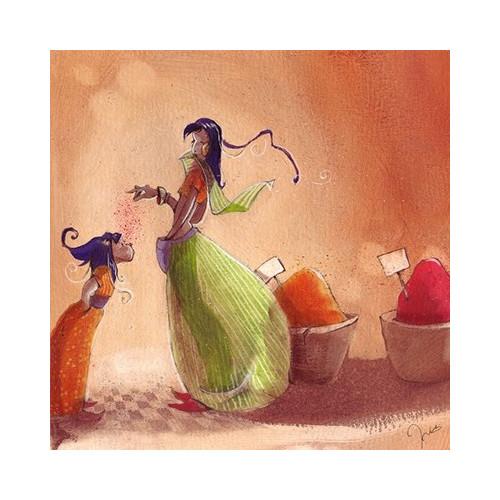 Toile imprimée Rachel et les petites Marcels - Orange