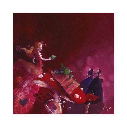 Toile imprimée Rachel et les petites Marcels - Rouge