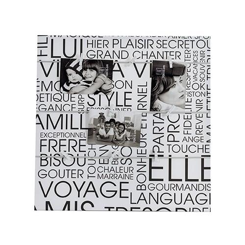 """Toile Pêle-mêle photo à corde """"Texte"""" - 50x50"""