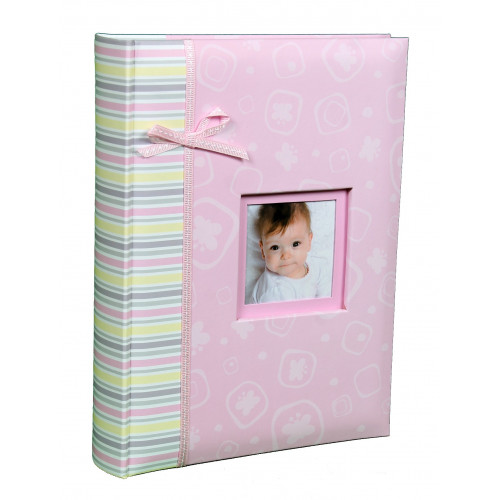 ALBUM BEBE BABY PINK/BLUE 200 POCHETTES 10X15 FACE ROSE