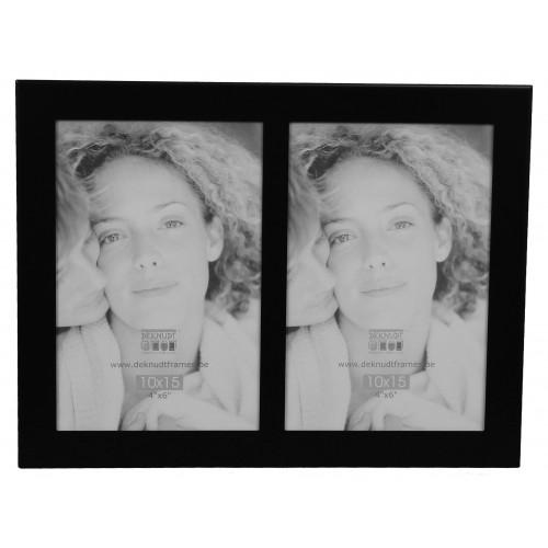 Cadre photo duo vertical Deknudt S65RQ2 plat noir 6x9
