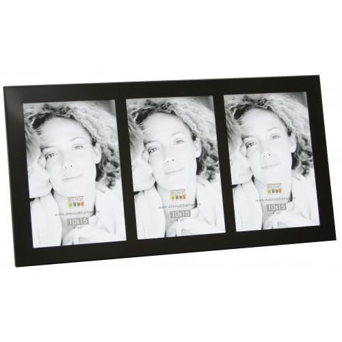 Cadre photo triptique Vertical Deknudt S65RQ3 plat noir 6x9 9x13 13x18