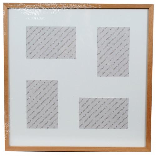 """Cadre pêle-mêle carré """"Hêtre"""" pour 4 photos 10x15"""