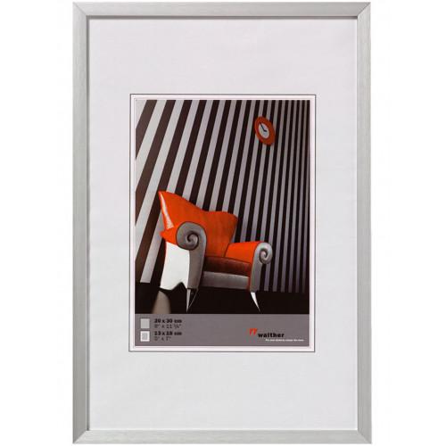 Cadre photo en aluminium brossé Chair argent - Walther 10x15 13x18 15x20 20x30 30x40 30x45 40x50 40x60