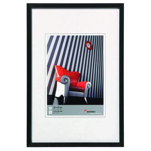 Cadre photo en aluminium brossé Chair noir - Walther 10x15 13x18 15x20 20x30 30x40 30x45 40x50 40x60
