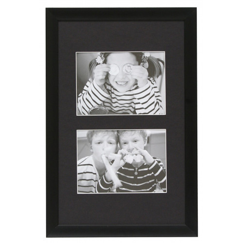 Cadre Duo Alu noir pour 2 photos 10X15