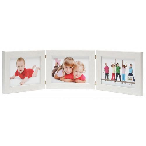 Cadre photo triptique horizontal Deknudt S41VF1 H3H blanc 10x15 13x18