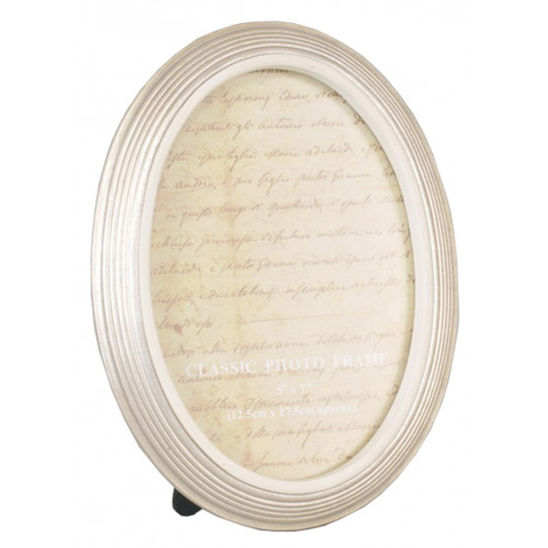 Cadre photo ovale rainuré crème 10x15 13x18