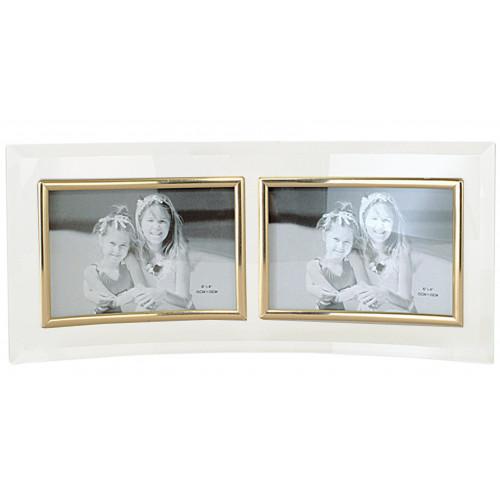 Cadre photo galbé double horizontal en verre
