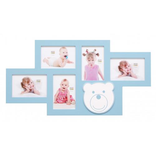 Cadre photo multivues enfant Ourson bleu