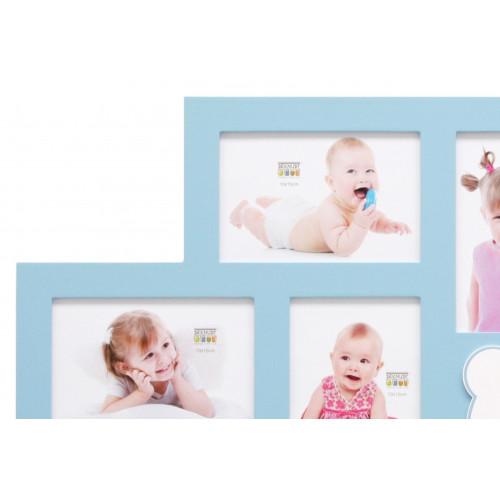 CADRE-MULTIVUES-ENFANT-S66RK6 P5-5-PHOTOS-10X15-BLEU