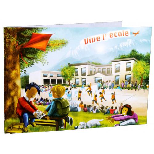 Cartonnage photo scolaire - Groupe 20x30 avec RABAT - Vive l'école new