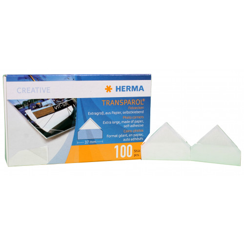 100 coins adhesifs transparents grand format pour photos HERMA