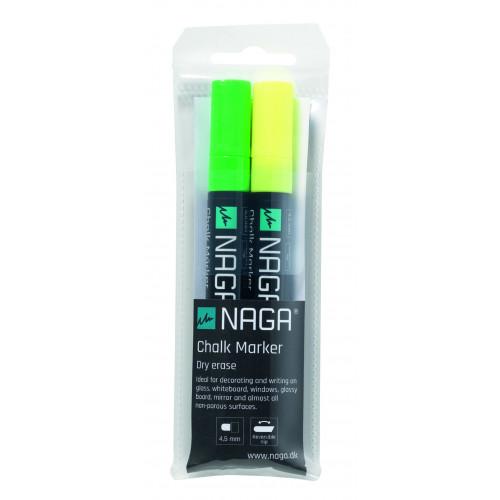 2 Marqueurs jaune et vert pour tableau Naga