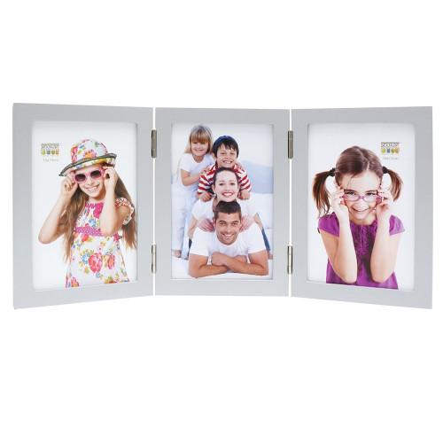 Cadre photo trio vertical Deknudt S68FD1 H3V argenté 10x15 13x18