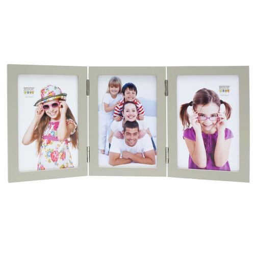 Cadre photo trio vertical Deknudt S68FV7 H3V gris 10x15 13x18