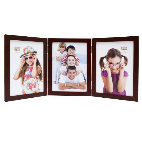 Cadre photo trio vertical Deknudt S68FV3 H3V brun 10x15 13x18