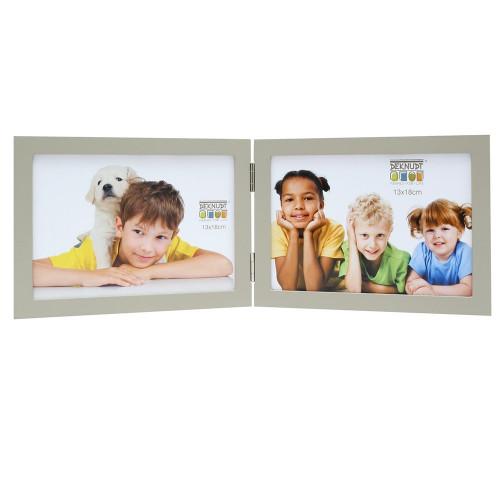 Cadre photo duo horizontal Deknudt S68FV7 H2H gris 13x18