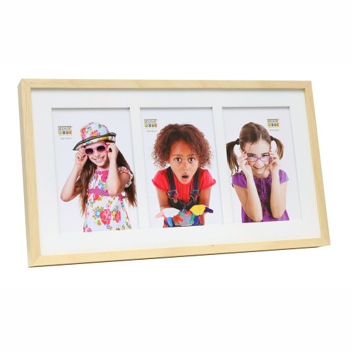 Cadre photo trio horizontal Deknudt S67WH1 P3 naturel 10x15 13x18