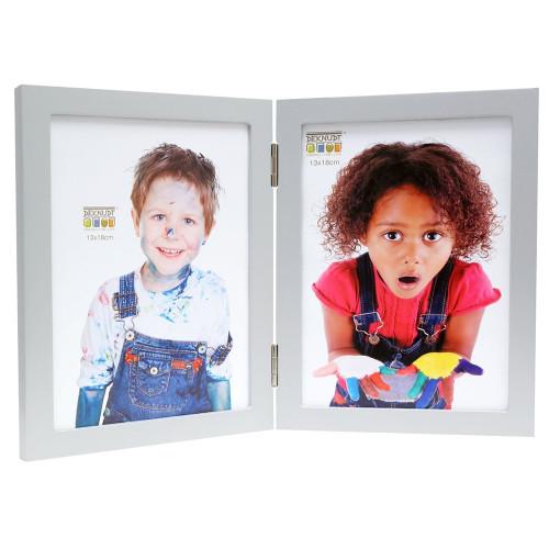 Cadre photo duo vertical Deknudt S68FD1 H2V argenté 10x15 13x18