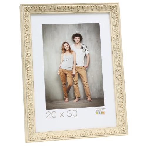 Cadre photo Deknudt S95MF1 - Blanc filet argent 20x30