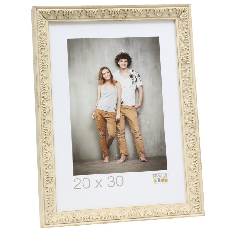 Cadre photo Deknudt S95MF1 - Blanc filet argent