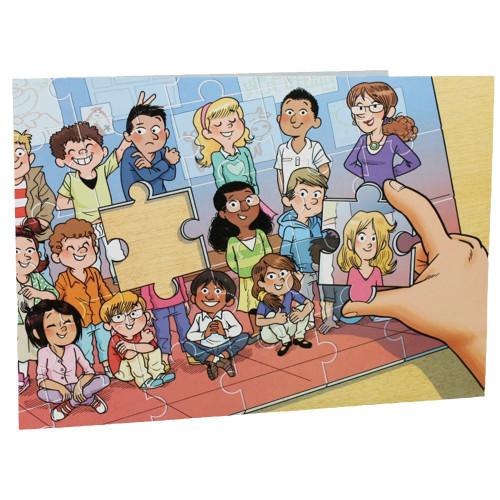 Cartonnage photo scolaire - Groupe 20x30 avec RABAT - Puzzle