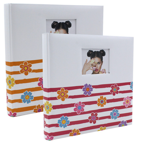 Lot de 2 albums traditionnel Shining Flowers pour 400 photos - Rose Orange