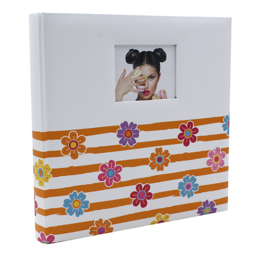 ALBUM TRADITIONNEL SHINING FLOWERS  POUR 400 PHOTOS 10X15 FACE ORANGE