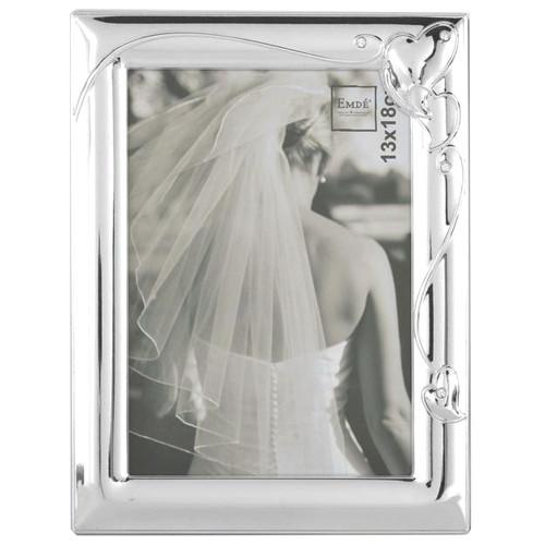 Cadre photo Fiançailles 13x18 métal chromé