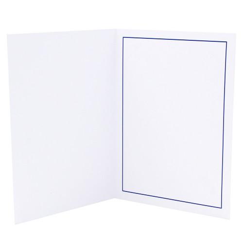 Cartonnage photo blanc - Liseré bleu foncé - ouvert nu
