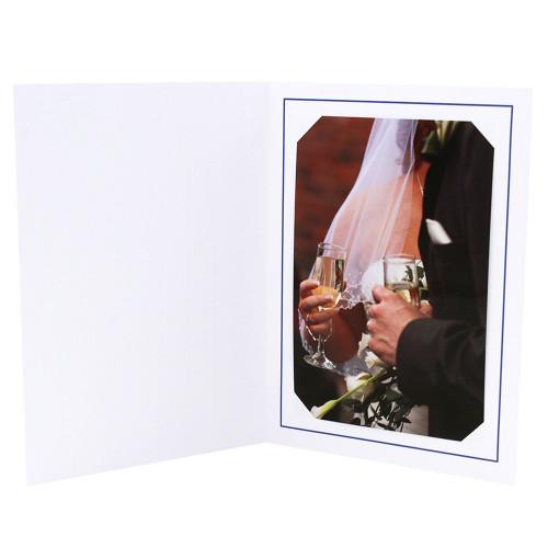 Cartonnage photo blanc - Liseré Bleu Foncé