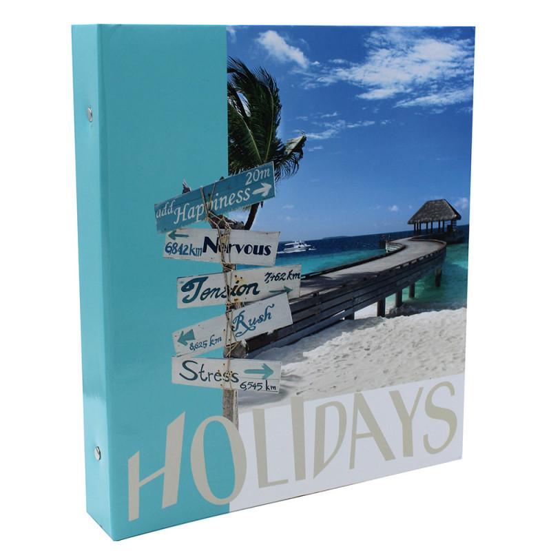 Lot de 2 classeurs photo à pochettes SUNSHINE pour 400 photos 11,5x15 - face Holidays