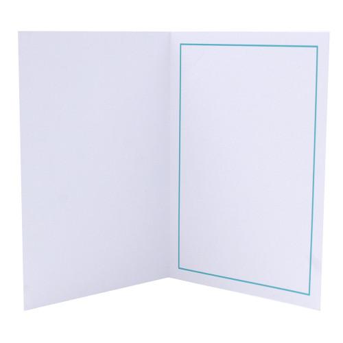 Cartonnage photo blanc - Liseré Turquoise