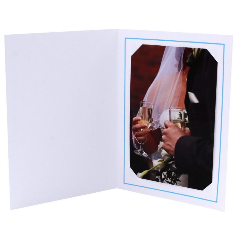 Cartonnage photo blanc - Liseré Bleu clair