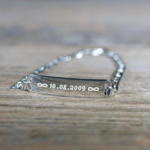 Bracelet en Argent 16 cm, couleur argent à graver
