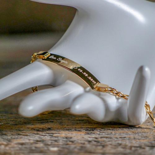 Bracelet en Argent 16 cm, plaqué or 585/1000 14 carats à graver